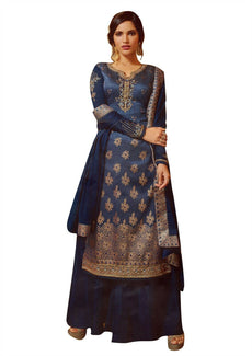 Ladyline Silk Embroidered Salwar Kameez Long with Palazzo Pants and Chiffon Silk Dupatta Indian Partywear