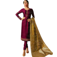 LADYLINE Plain Partywear Salwar Kameez Embroidered with Banarasi silk Dupatta Elegant Indian Dress