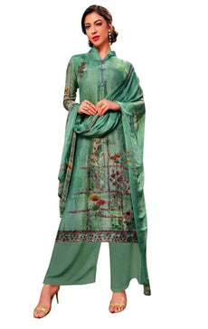 Ladyline Partywear Silk Digital Print & Handworked Salwar Kameez Ready to Wear with Palazzo Pants Indian Womens