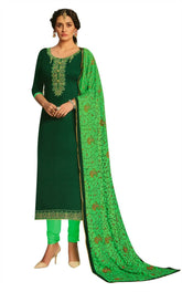 Ladyline Cotton Silk Plain Embroidered Salwar Kameez with Kashmiri Embroidered Dupatta