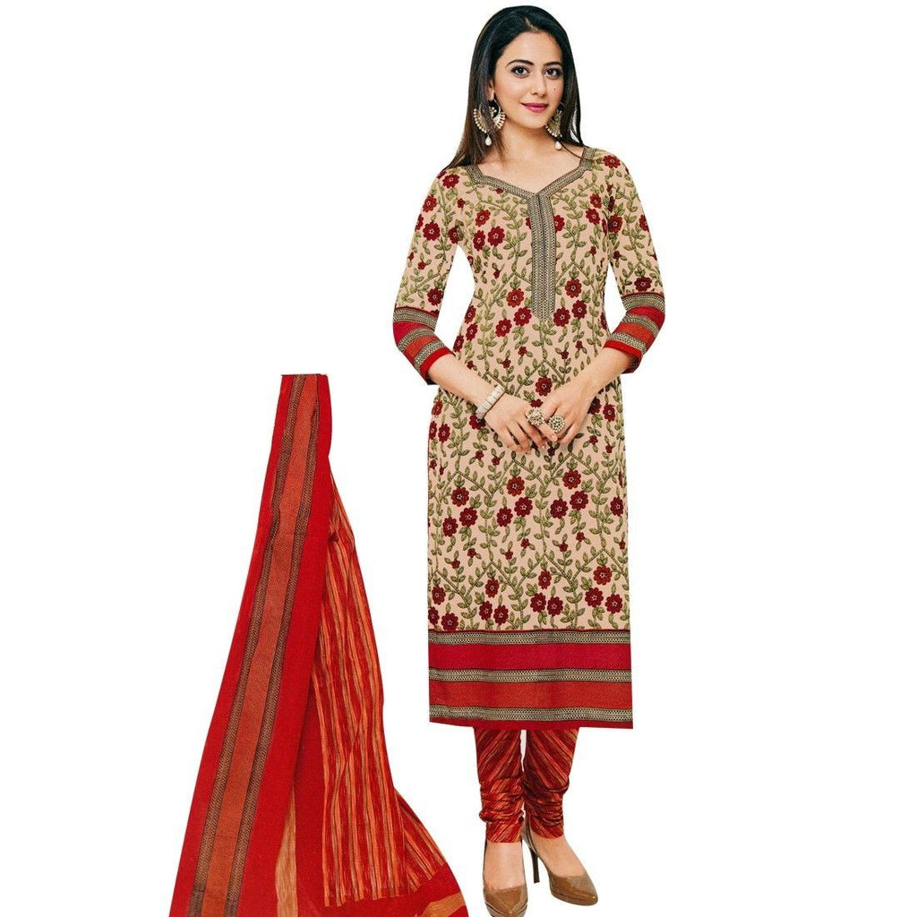 Designer Printed Cotton Salwar Kameez Ready To Wear Indian Pakitani