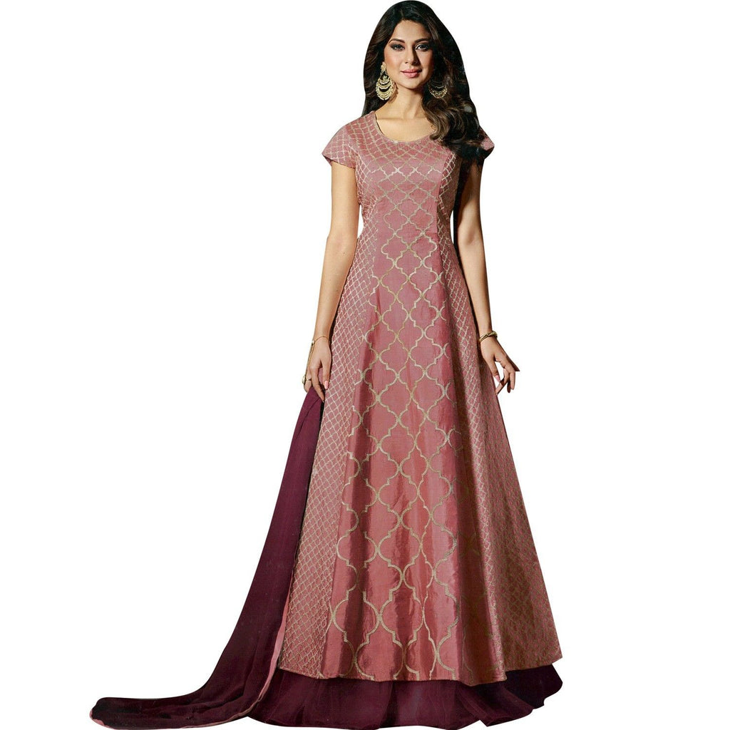 Designer Wedding Anarkali Floor Length Salwar Kameez in Silk Indian dress