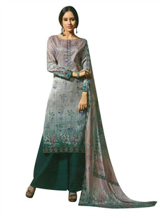 Ladyline Tusser Silk Partywear Salwar Kameez Printed Embroidered with Palazzo Pants Ready to wear Indian Pakistani Dress Womens