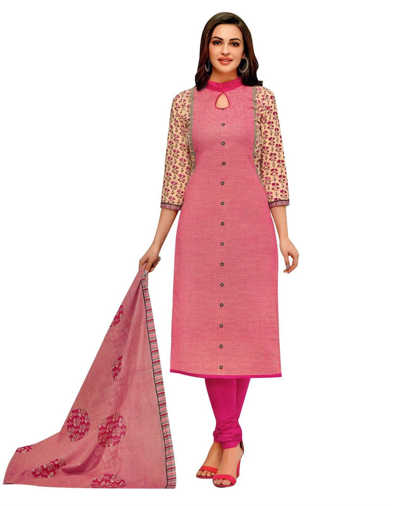 LAYLINE Pure Cotton Ethnic Printed Salwar Kameez with Churidar Pants