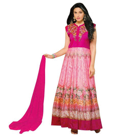 Designer Anarkali Full Kength Salwar Kameez Semi Silk Indian Gown