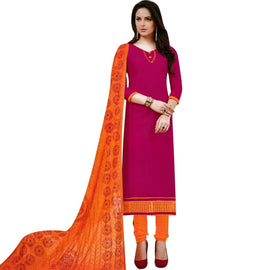 Readymade Elegant Cotton Embroidered Dupatta Salwar Kameez Suit