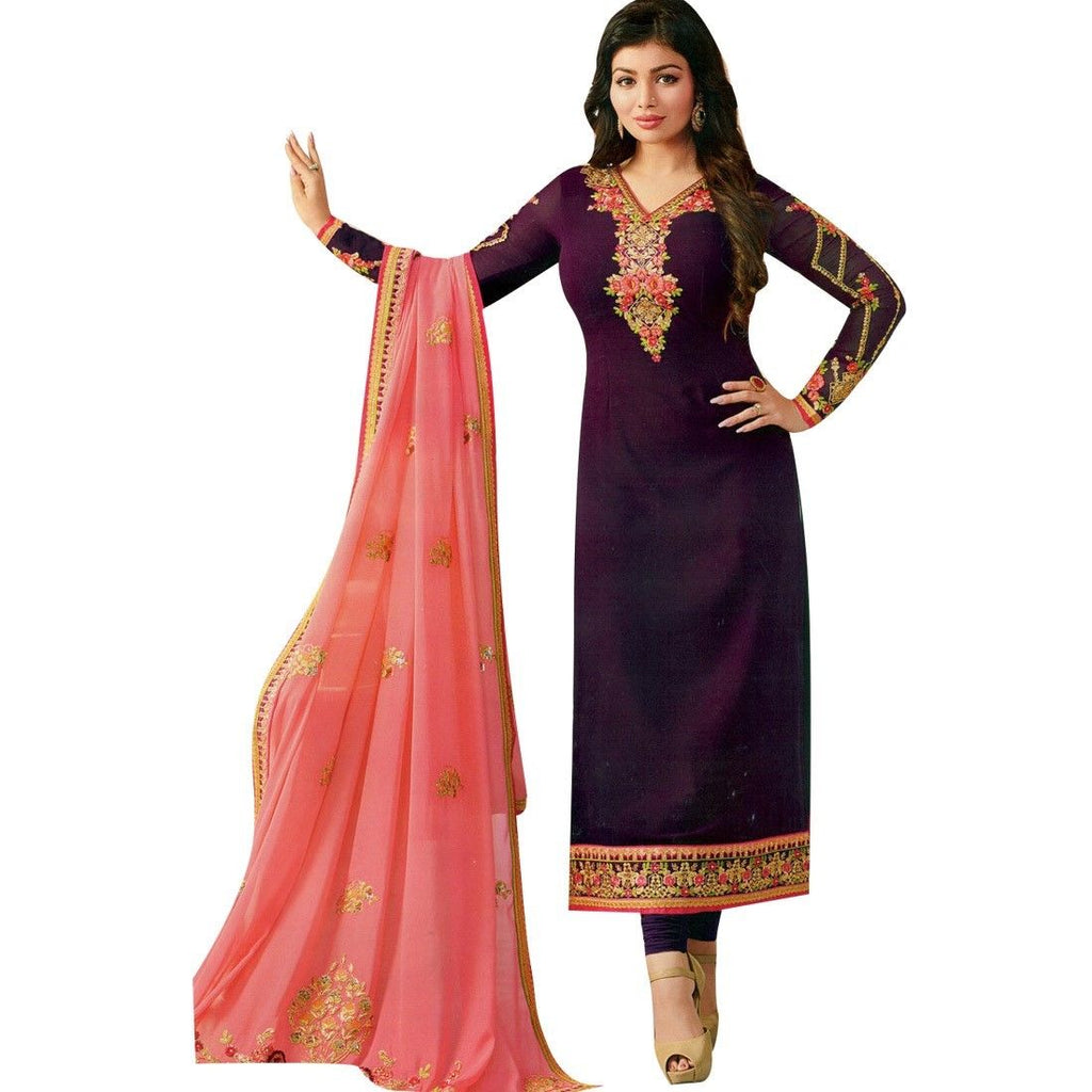 Ladyline Heavy Embroidered Dupatta Georgette Wedding Salwar Kameez Indian Pakistani Dress Readymade