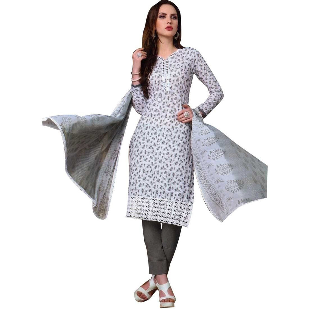 ReadyMade White Cotton Embroidered Salwar Kameez, Print, Casual, Evening Suit Indian