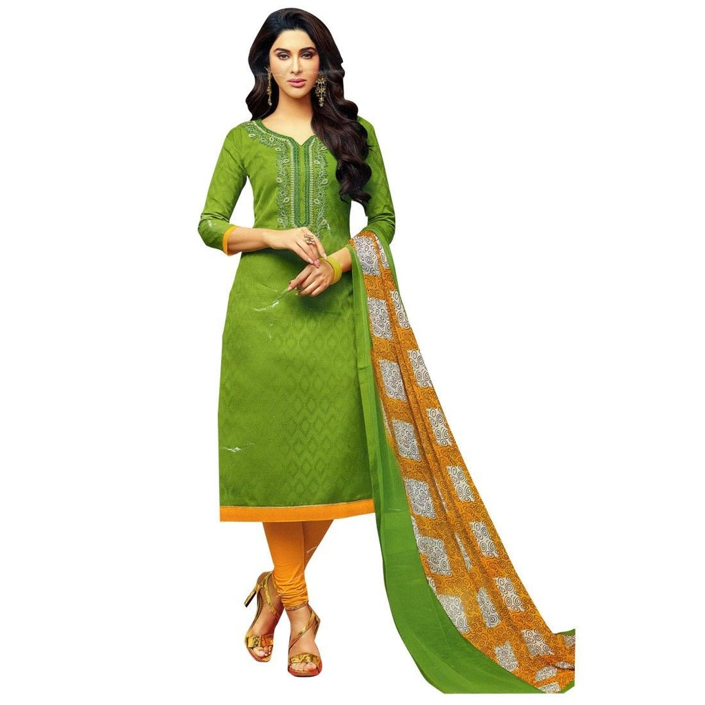 Readymade Rich Jacquard Cotton Embroidered Salwar Kameez Suit Indian Dress