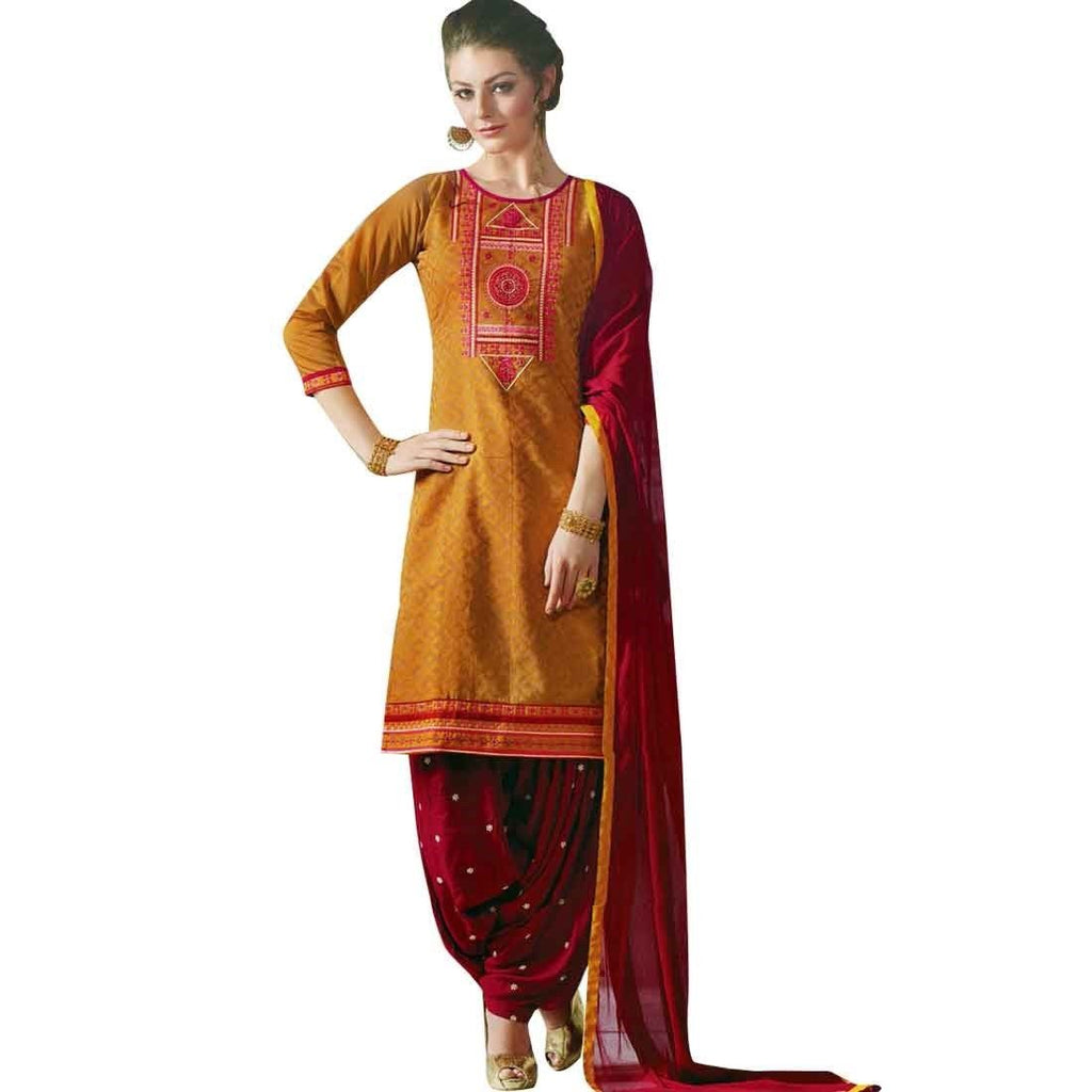Designer Readymade Brocade Silk Patiala Salwar Kameez Suit Indian Dress