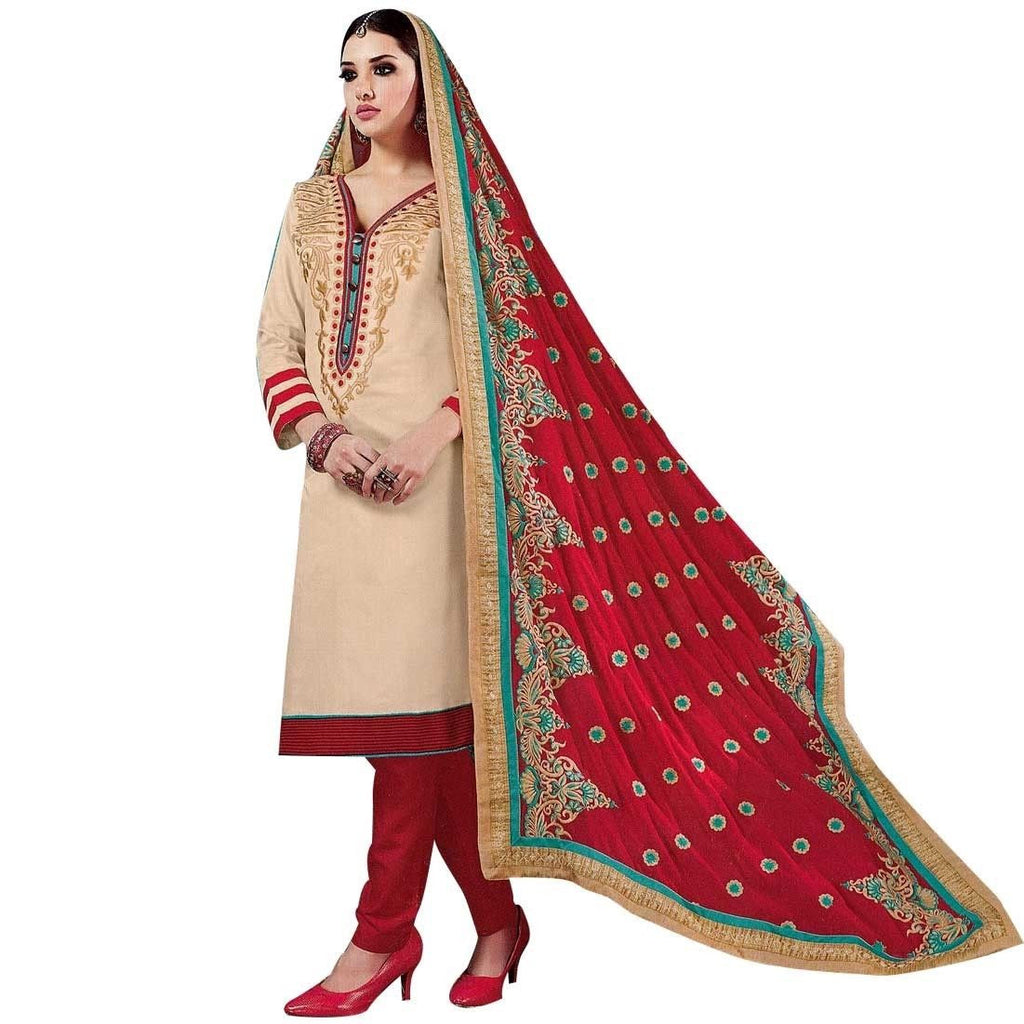ReadyMade Heavy Embroidery Dupatta Rich Cotton Salwar Kameez