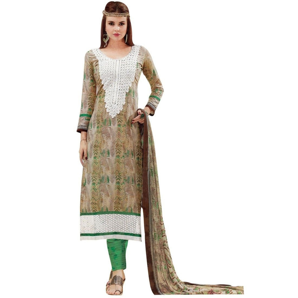 Designer Lace Embroidered Printed Cotton Salwar Kameez Suit Indian