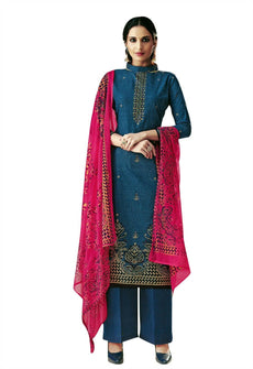 Ladyline Readymade Foil Printed Cotton Salwar Kameez with Chiffon Dupatta Ready to Wear Indian Dress
