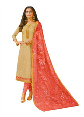 Ladyline Chanderi Silk Embroidered Salwar Kameez Suit with Organza Lace Dupatta