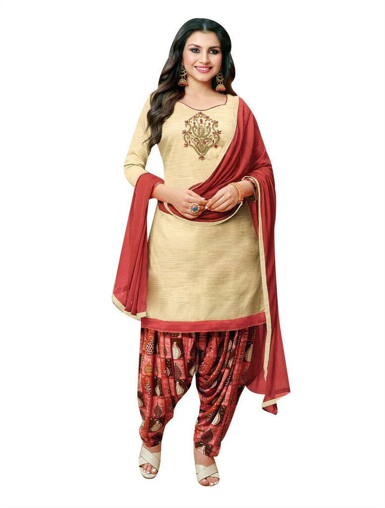 Ladyline Art Silk Handworked Salwar Kameez with Printed Patiala Salwar Indian Womens Dress