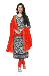 Ladyline Cotton Printed & Handwork Salwar Kameez With Dupatta