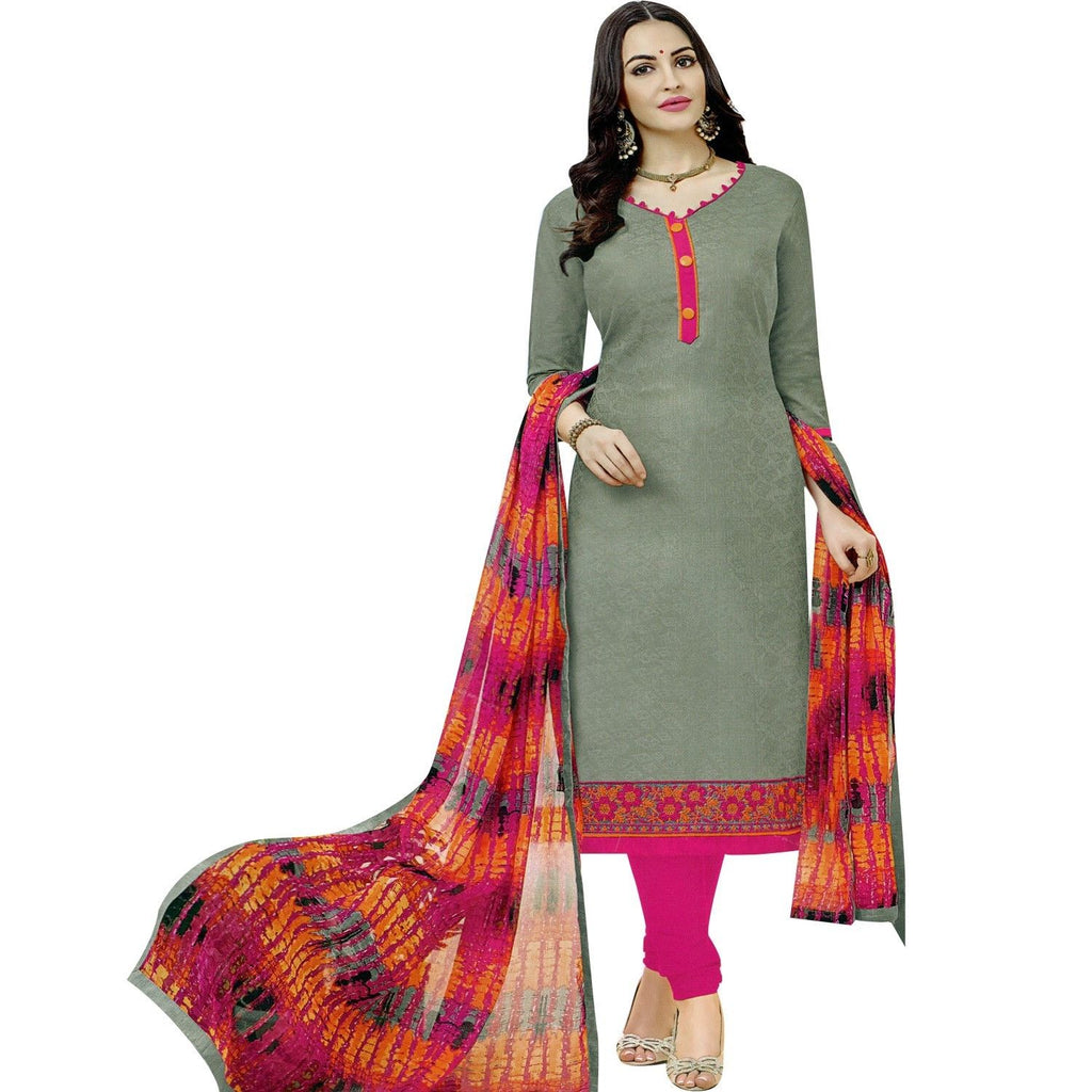 Readymade Salwar Kameez Cotton Silk Embroidered with Ethnic Printed Chiffon Dupatta Indian Dress