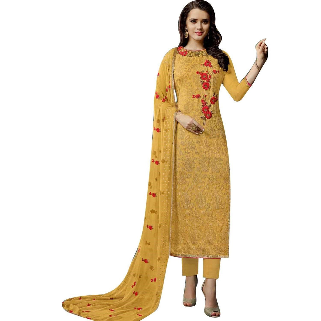 LADYLINE Womens Salwar Kameez Georgette Embroidered Partywear