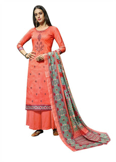 Ladyline Womens Cotton Embroidered Salwar Kameez with Palazzo Pants & Cotton mal Dupatta Indian Pakistani Suit