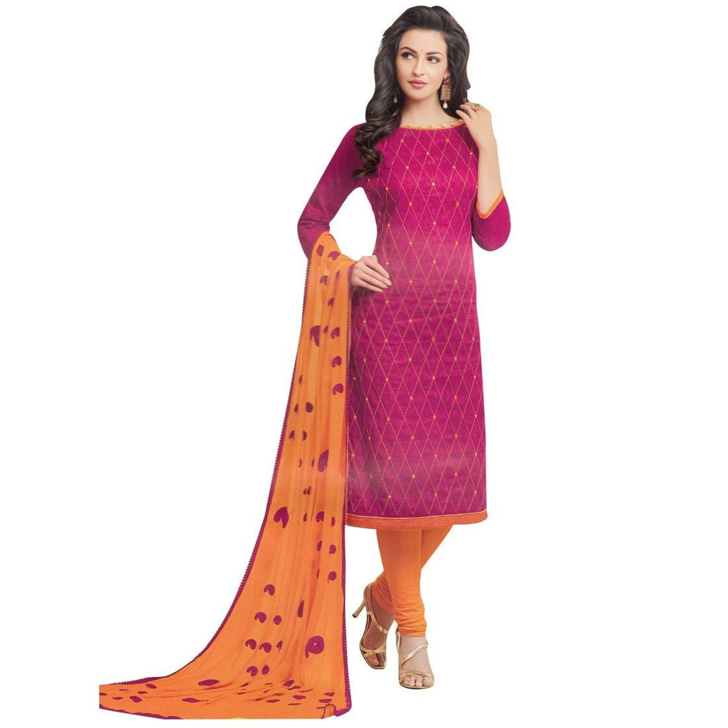 Ready Made Cotton Salwar Kameez Embroidered Rich Dupatta Indian