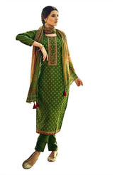 Ladyline Jacquard Silk Embroidered Salwar Kameez for Womens with Pants & Pure Chiffon Dupatta