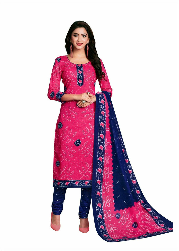 Readymade Bandhej Printed Pure Cotton Salwar Kameez Dress Indian