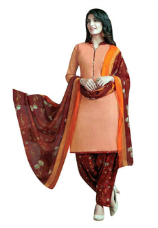 Ladyline Plain Cotton Printed Patiala Salwar Kameez with Chiffon Dupatta Indian Dress