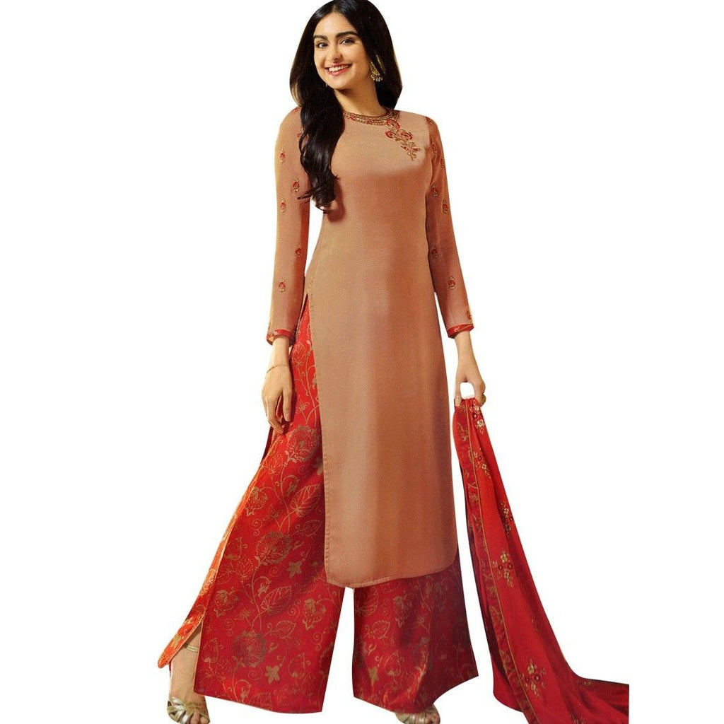 Wedding Salwar Kameez with Silk Palazzo Pants Embroidery Handwork Indian Dress