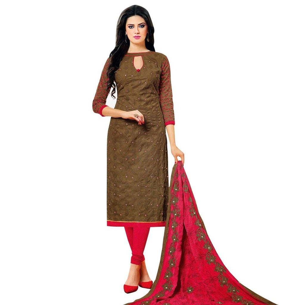 Ready To Wear Elegant Cotton Embroidered Salwar Kameez Suit India