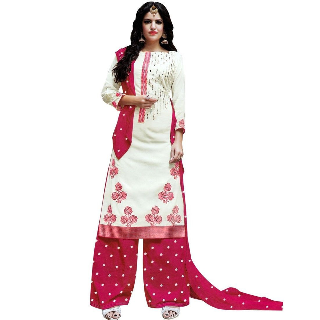 Ready Made Cotton Embroidered Palazzo Pants Salwar Kameez Suit India