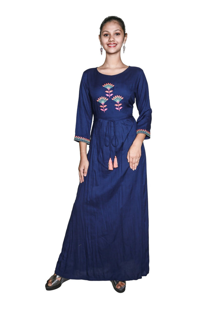 Ladyline Designer Blue Long Kurti Tunic with 3/4 th Sleeves