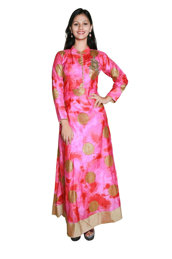 Ladyline Designer Pink Anarkali Kurti Tunic with Handwork and Long Sleeves