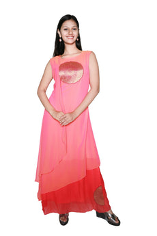 Ladyline Stylish Peach Georgette Long Kurti With Brocade patch Tunic,Sleeveless