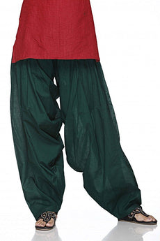 Bottle Green Pain Cotton Patiala Salwar Pants