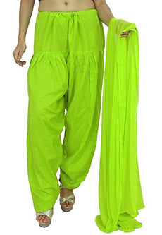 Lyril Green Pain Cotton Patiala Salwar Pants