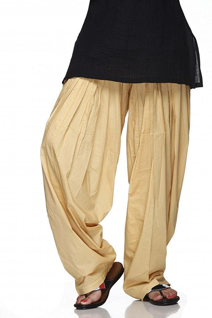 Beige Pain Cotton Patiala Salwar Pants