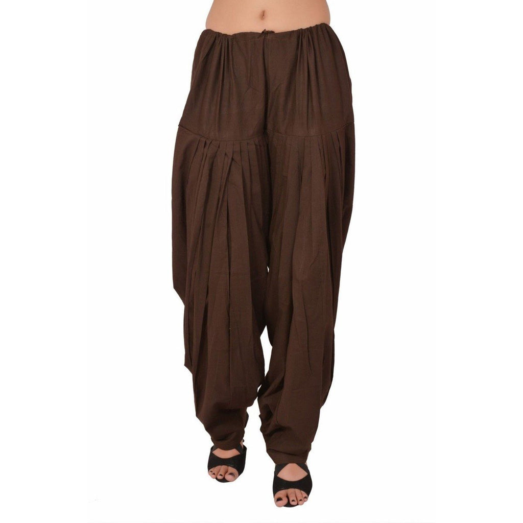Brown Pain Cotton Patiala Salwar Pants