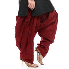 Maroon Pain Cotton Patiala Salwar Pants