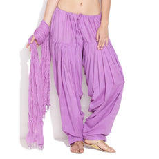 Lavender Pain Cotton Patiala Salwar Pants
