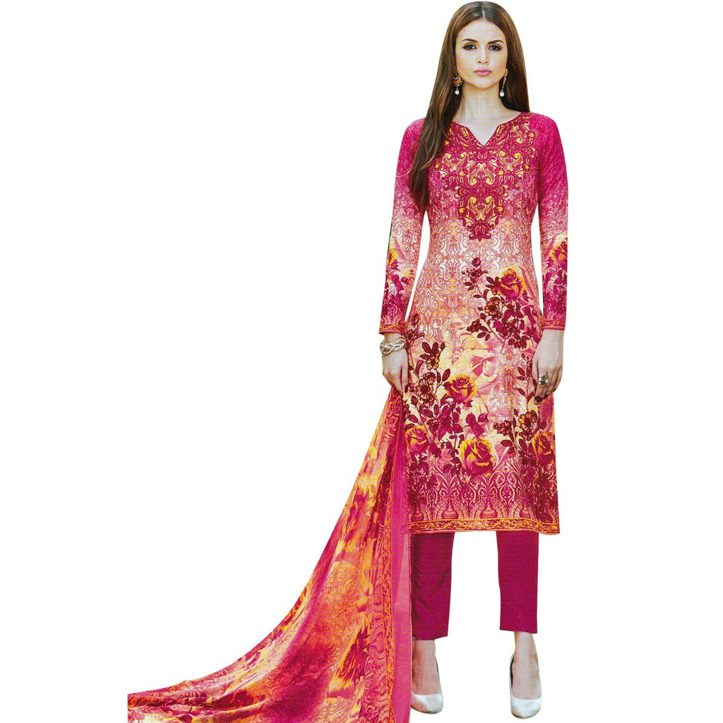 Designer Karachi Style Printed Cotton Salwar Kameez Suit Indian