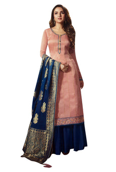 Ladyline Maslin Silk Partywear Salwar Kameez Embroidered with Banarasi Silk Dupatta Silk Palazzo Pants