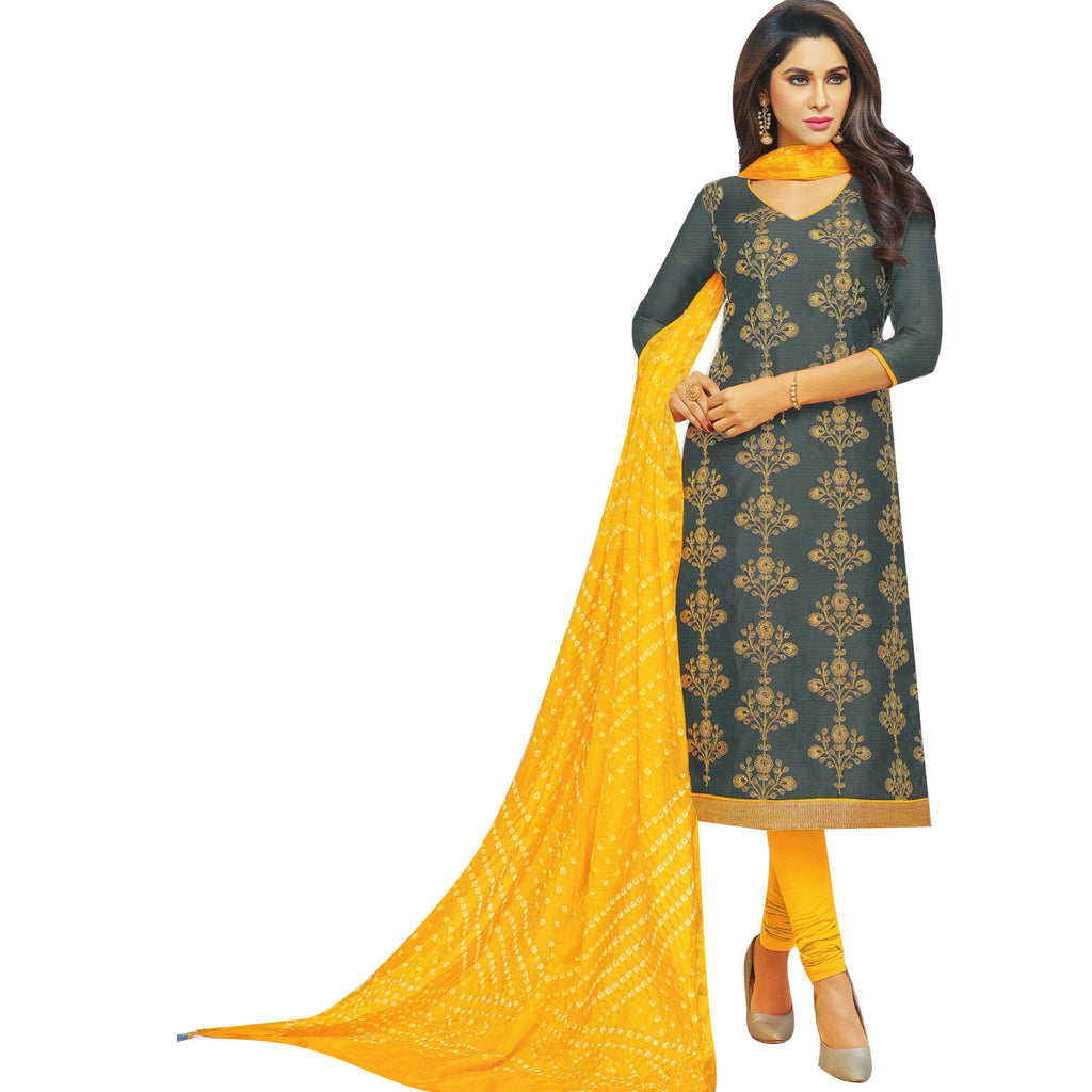 Womens Chanderi Silk Embroidered Salwar Kameez with Bandhej Dupatta Indian Stitched Salwar Suit Ready to Wear