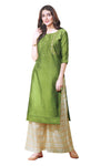 Ladyline Partywear Silk Embroidered Womens Kurti Set with Palazzo Pants Indian Tunic Kurta Dress