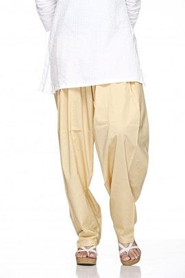 Beige Cotton Plain Salwar Bottom Regular