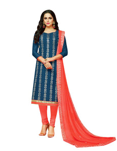 LADYLINE Womens Silk Salwar Kameez with Gota Patti work Embroidered