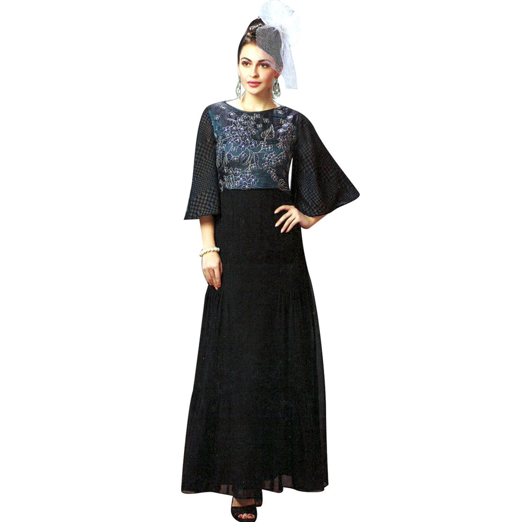 Designer Black Long Georgette Embroidered Partywear Kurti Top, Kurta, Evening Gown