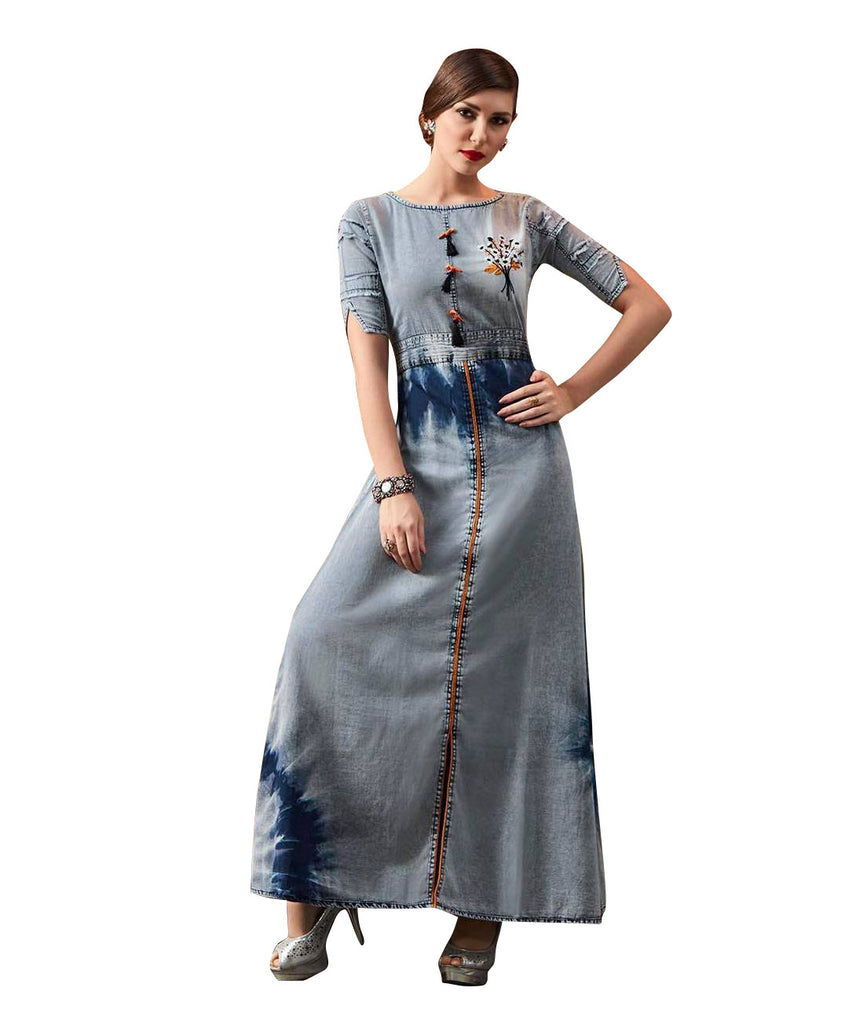 Ladyline Women's Denim Cotton Embroidered Stylish Elbow Sleeves Maxi Dress Semi Formal Long Kurta Kurti Top Evening Gown