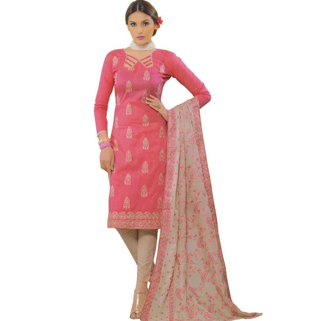 Ready Made Designer Cotton Embroidered Salwar Kameez Suit Indian