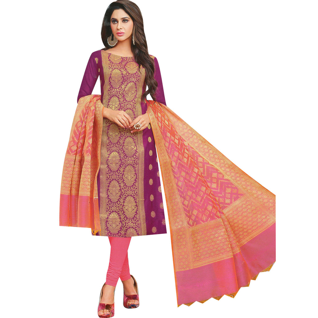 Womens Banarasi Silk Salwar Kameez with Banarasi Dupatta Plain Indian Ready to wear Salwar Suit Stitched