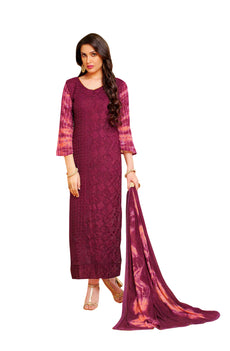 LADYLINE Womens Partywear Long Salwar Kameez Chiffon Karachi Embroidered